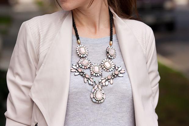 Blush Moto Jacket, ILY Couture Necklace