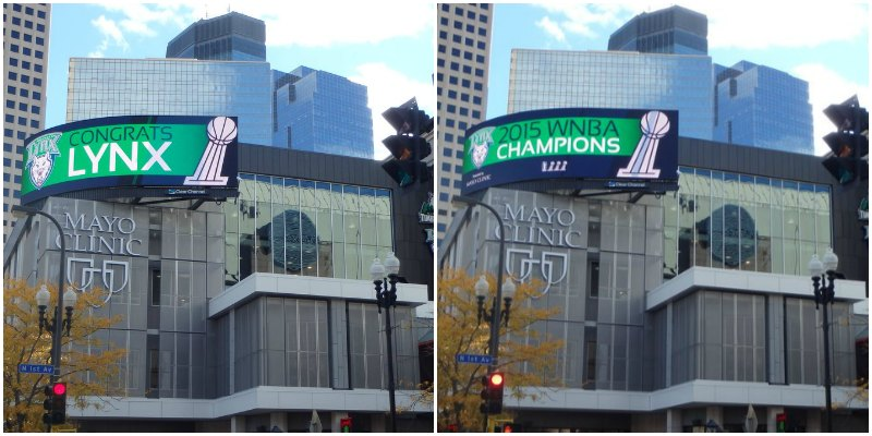 Billboard congratulating the 2015 WNBA Champion Lynx