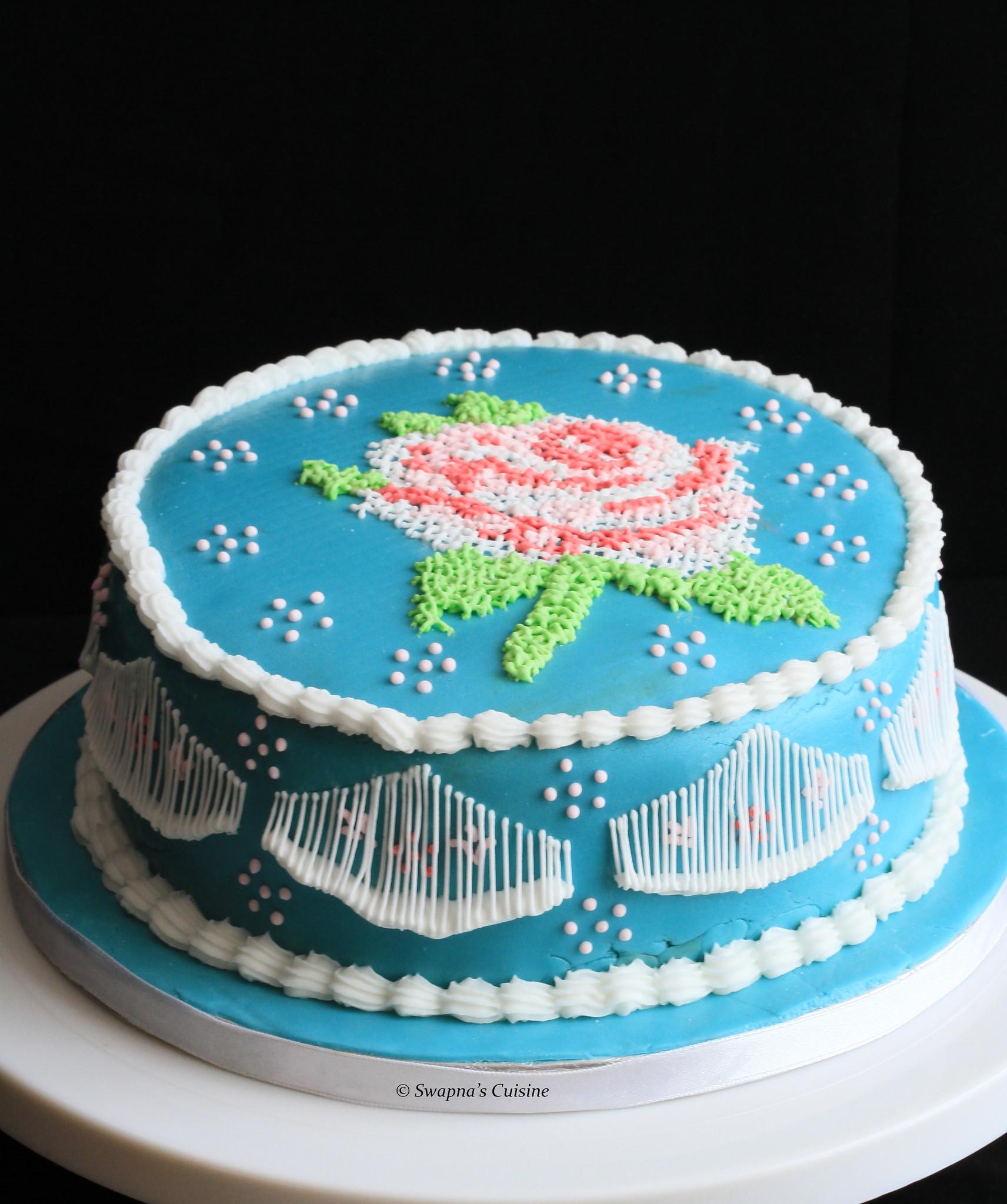 Swapna s Cuisine: Royal Icing Cross Stitch Cake