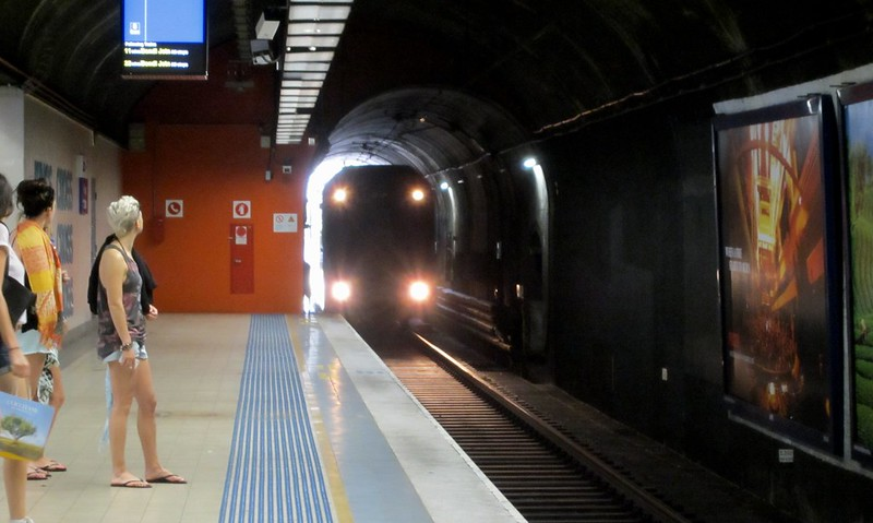 Sydney train approaches station
