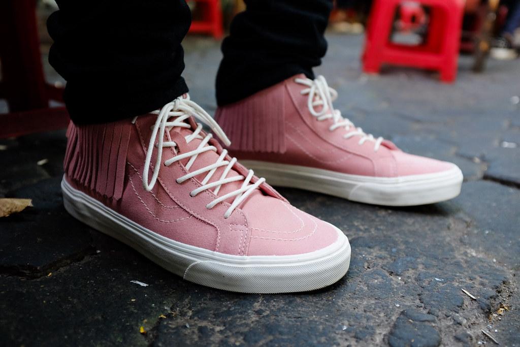 ... Vans Sk8-hi Moc Pink On Feet  b2b267833b