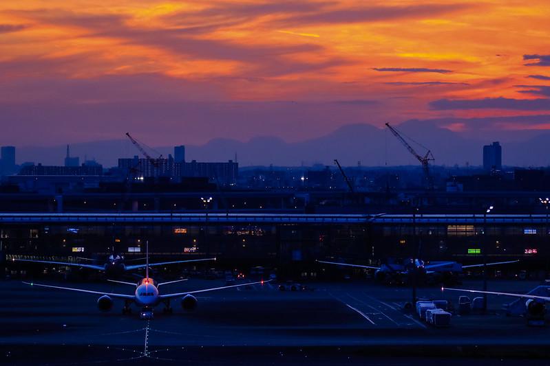 Sunset of Tokyo International Airport
