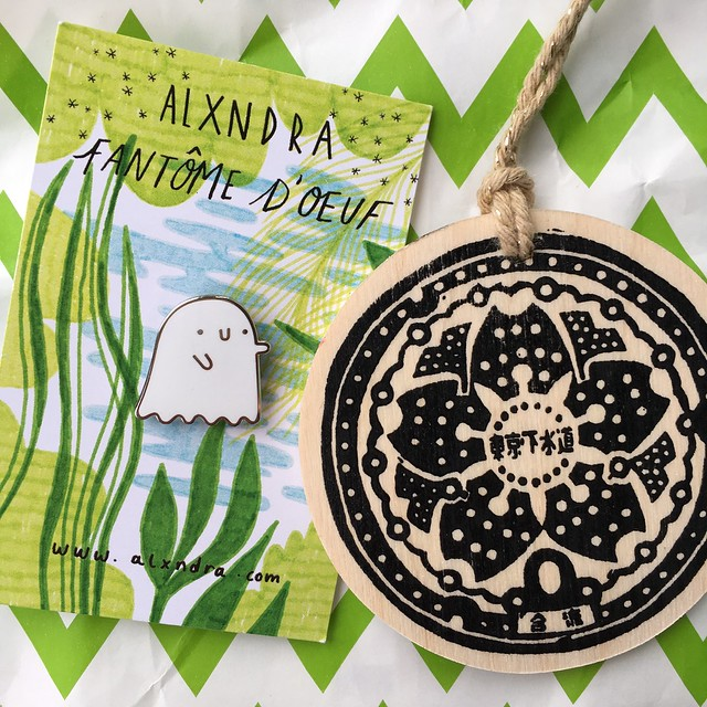 My very restrained Renegade purchases - the cutest ghost pin from alxndra and a Japanese manhole cover ornament by Woah There Pickle