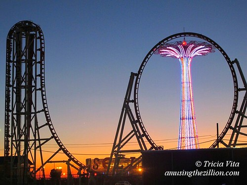 Coney Island Parachute Jump and Thunderbolt at Sunset. November 15, 2015 .  Photo © Tricia Vita
