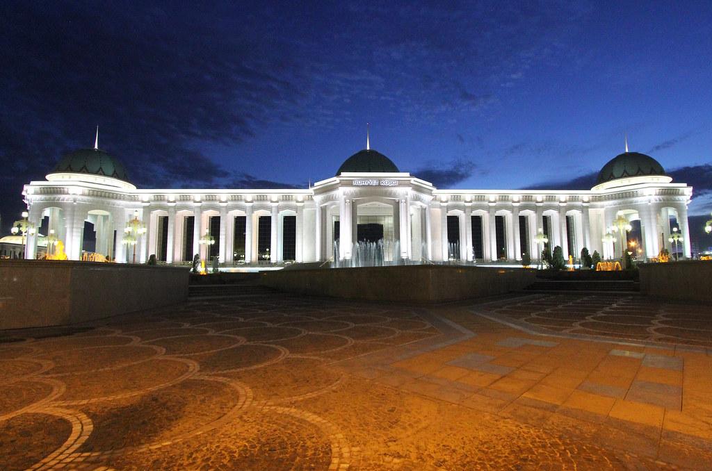 Showing the nice illumination of Asgabat, Turkmenistan at night