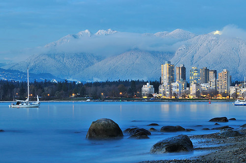 Vancouver cityscape with Grouse Mountain in the background, North Vancouver, British Columbia