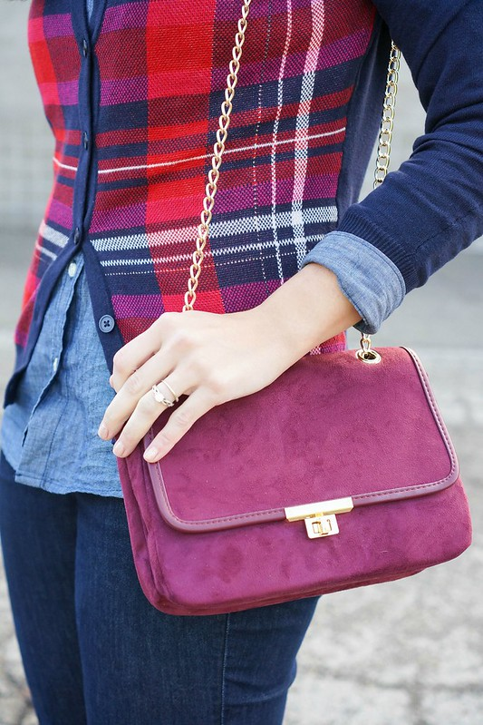 Target plaid cardigan + Express purse + Old Navy chambray