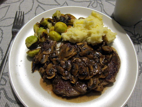 Steak with a Black Pepper Mushroom Sauce, Sauteed Brussels Sprouts and Mashed Potatoes