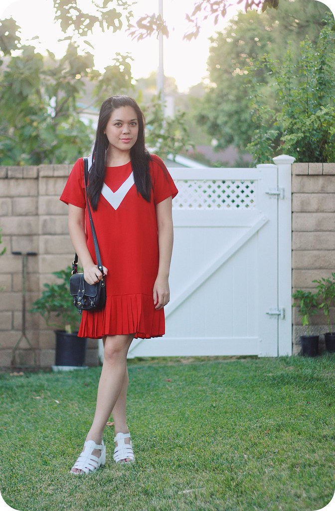 Sweets and Hearts fashion style: outfit featuring Zaful red dress, Boohoo white sandals, thrifted Isaac Mizrahi crossbody bag