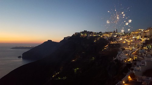 Fireworks at sunset in Santorini