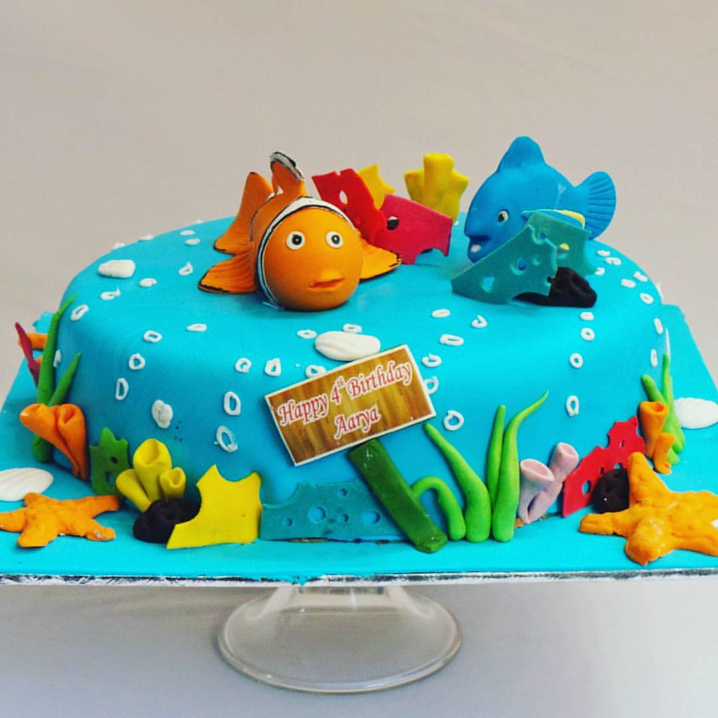 Nemo Aqua Marine Themed Fondant Covered Cake Ibca Ibcablr - Nemo fish birthday cake