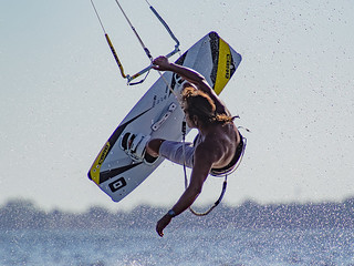 Catching air on the Kiteboard before sunset on Tampa Bay