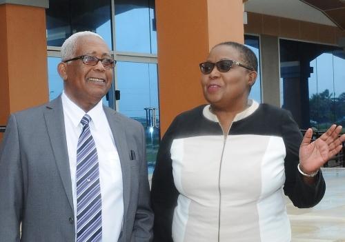 Minister of Education, the Honourable Anthony Garcia and Permanent Secretary Sandra Jones