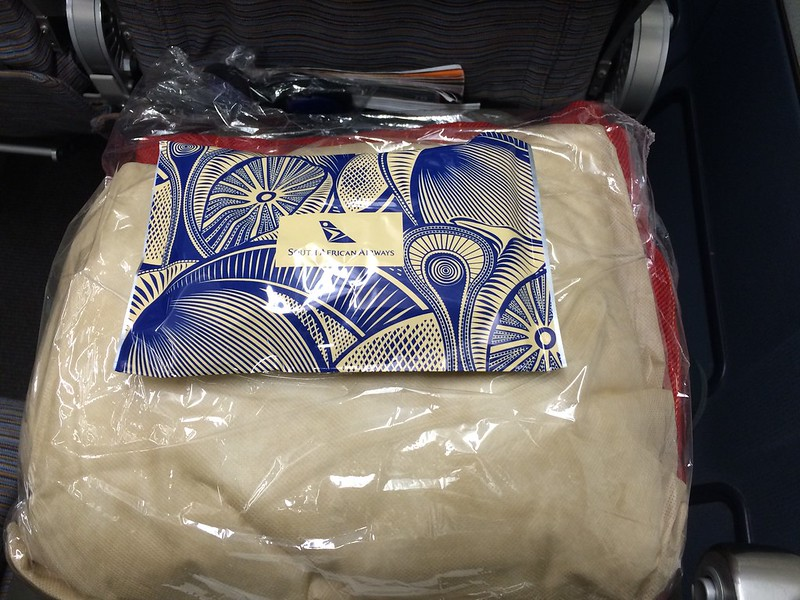 Blanket, socks and eye mask on South African Airways.