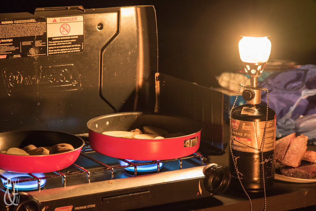 winter camping cooking