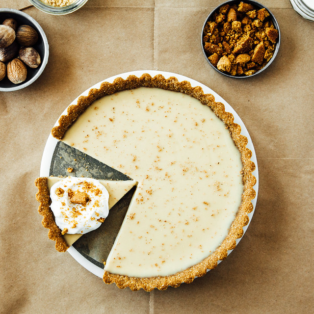 Holiday nog pie with coconut + gingersnap crust