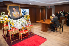 U.S. Secretary of State John Kerry signs the condolence book for His Majesty King Bhumibol Adulyadej at the Royal Thai Embassy in Washington, D.C., on October 21, 2016. [State Department photo/ Public Domain]