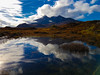 Reflections at Sligachan looking onto Cuillin Mountains