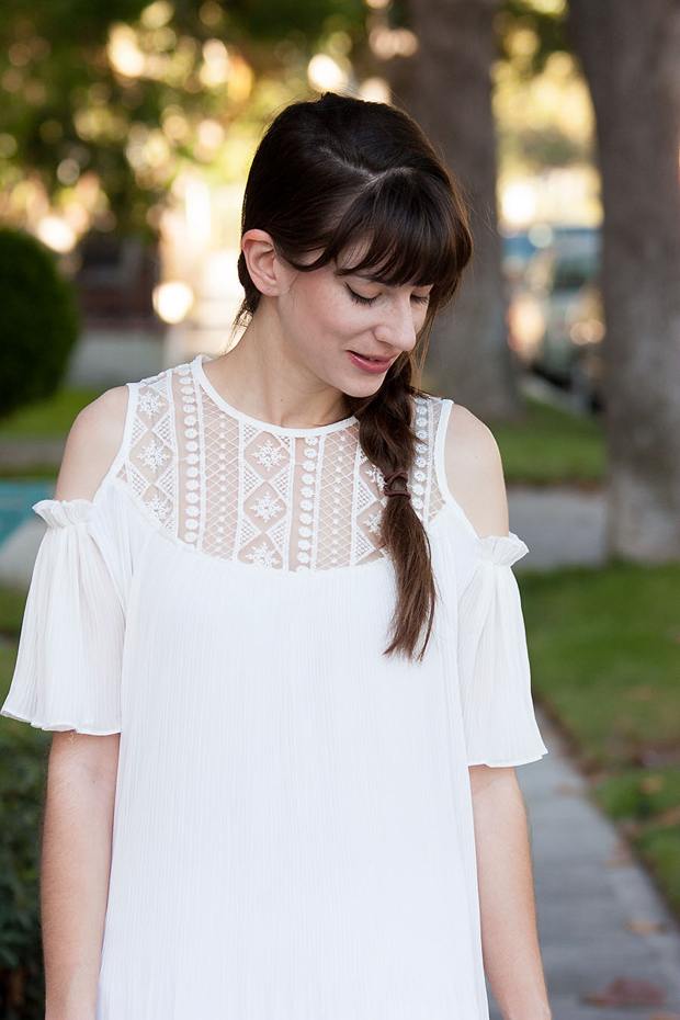 White Off the Shoulder Dress, Braided Hair