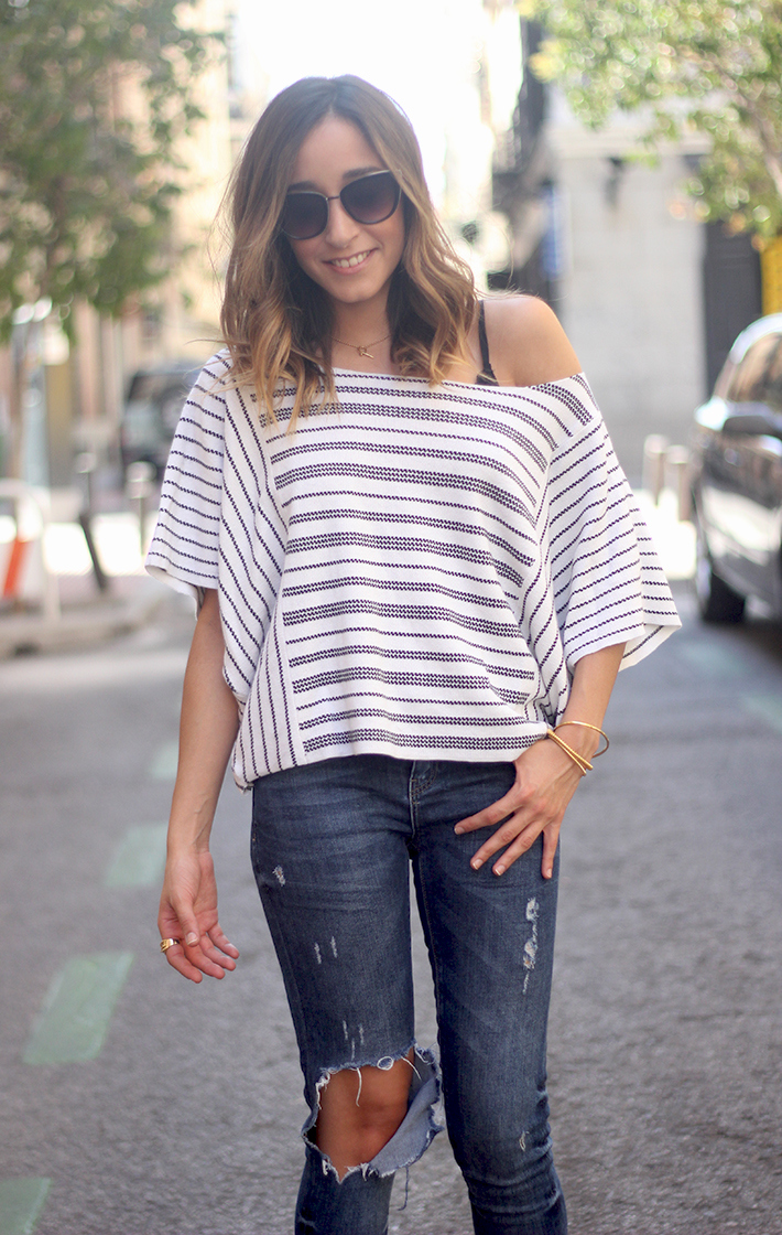 Casual Friday Jeans stripes top summer outfit14