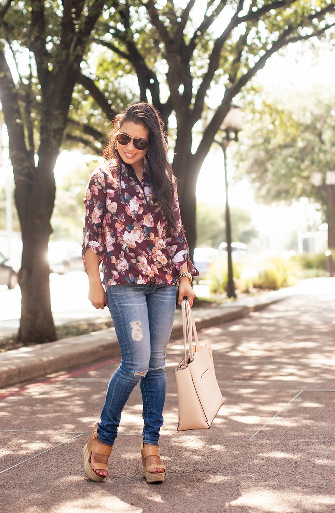 cute & little blog | petite fashion | wine floral surplice top, distressed jeans | fall outfit