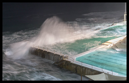 Wild night at Icebergs Baths, Bondi Beach