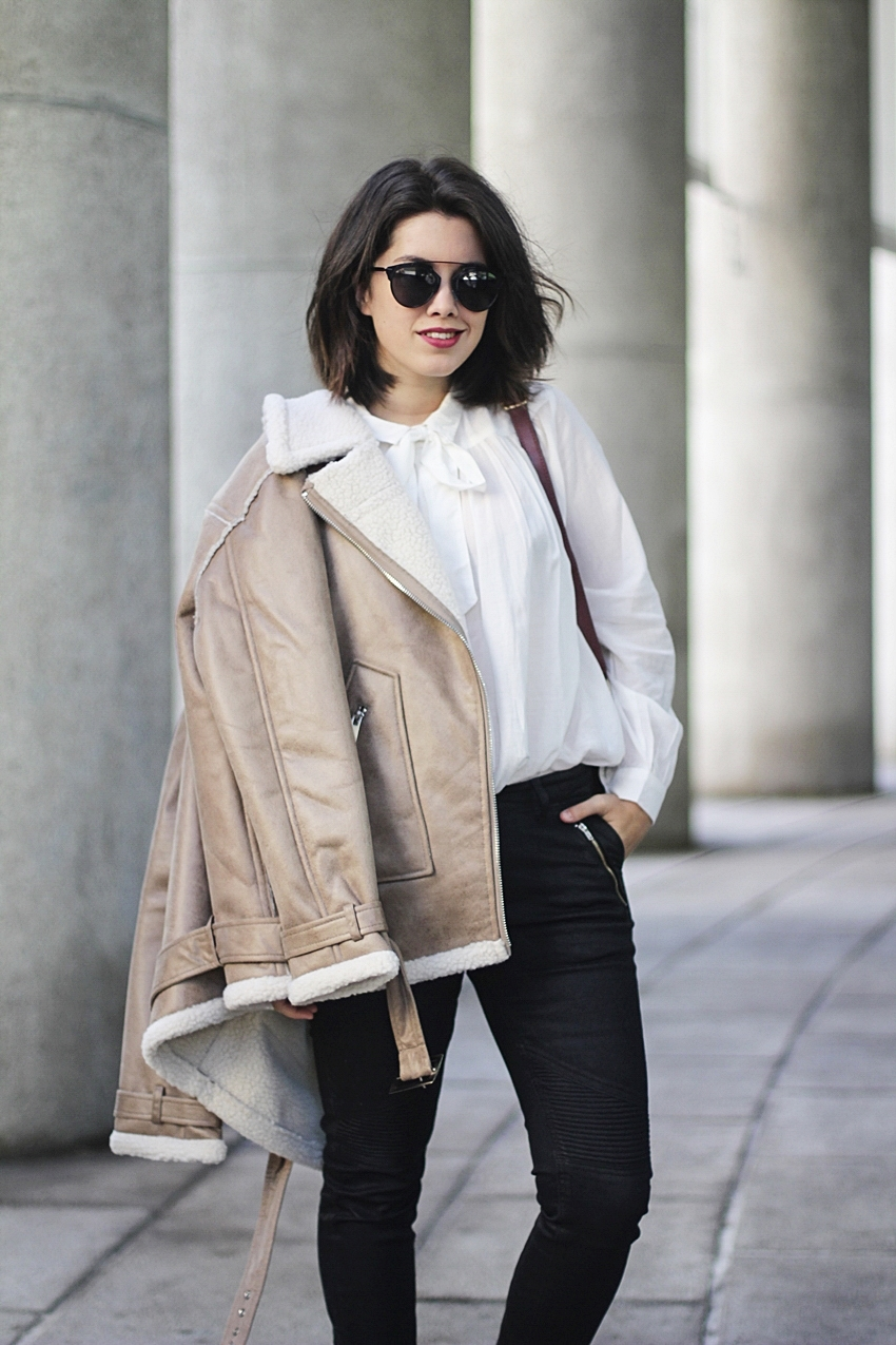 shearling jacket beige winter look myblueberrynightsblog