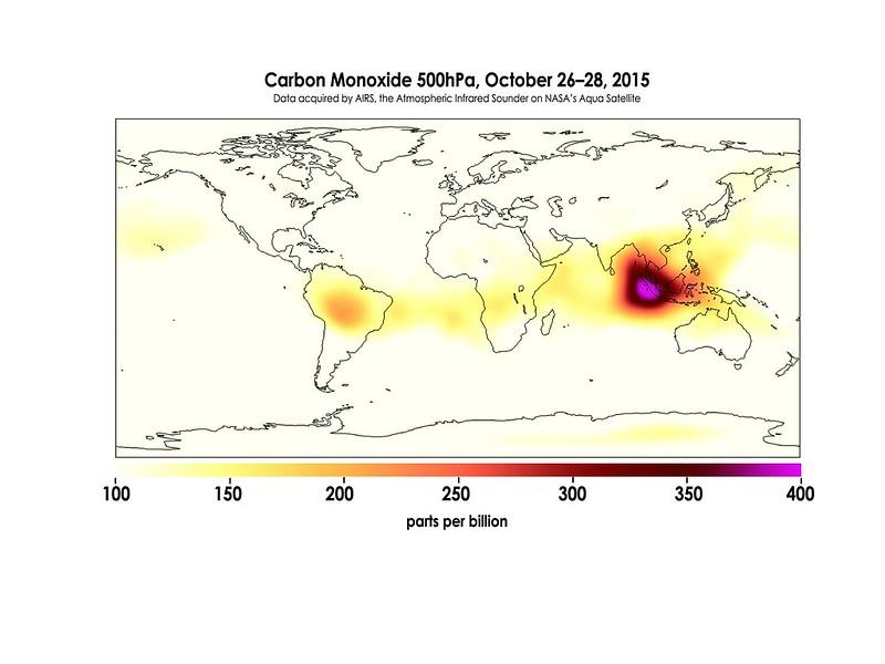 Carbon Monoxide in Mid-Troposphere over Indonesia Fires, October 26-28, 2015