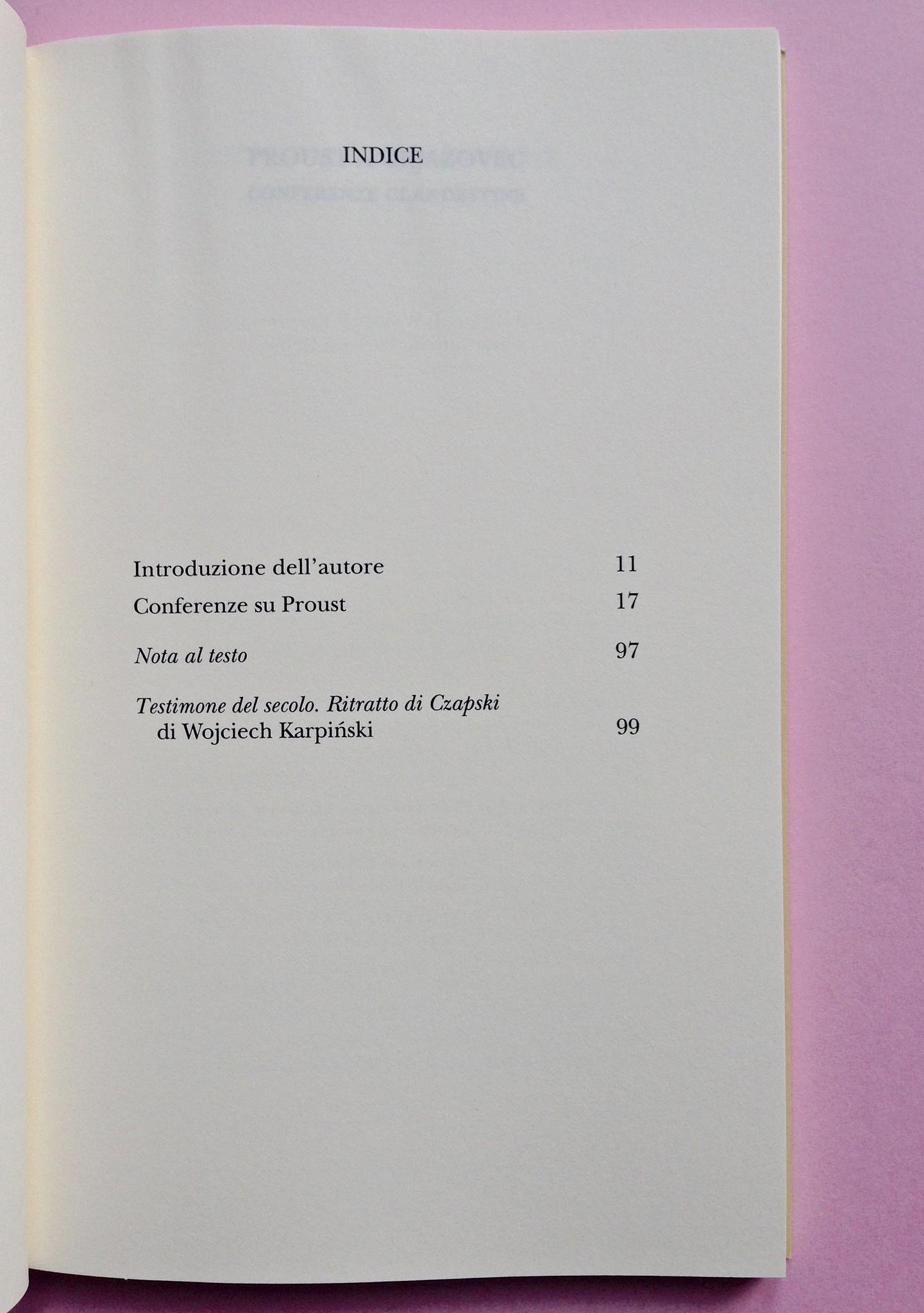 Proust a Grjazovec, di Józef Czapski. Adelphi 2015. Resp. grafica non indicata. Indice, a pag. 7 (part.), 1