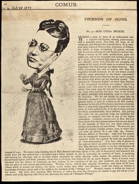 Lydia Becker in Comus journal, 1877.