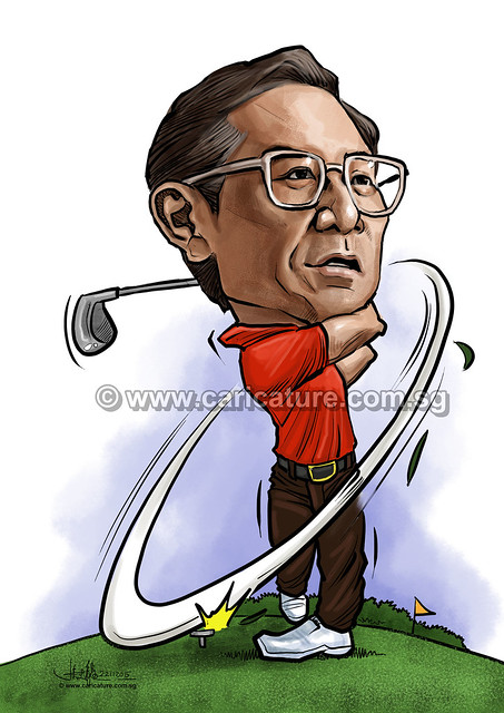 golfer digital caricature for Mastercard (watermarked)
