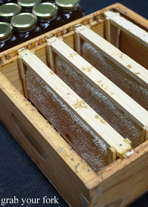 Racks of honey by Malfroy's Gold at Rootstock Sydney 2015