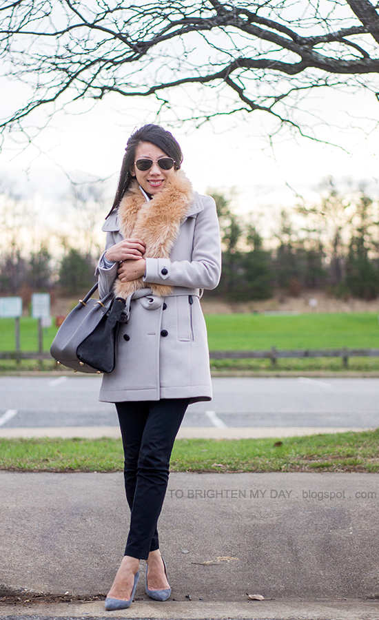 faux fur scarf, gray wool trench coat, gray suede pumps
