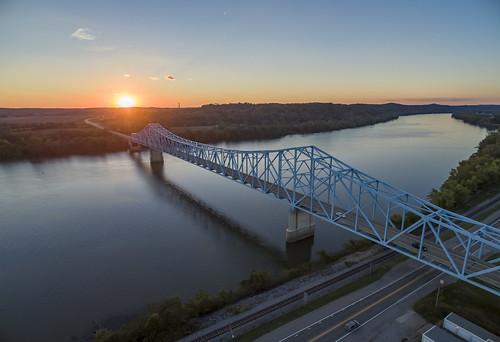 bridge sunset ohioriver reflection water drone phantomquadcopter phantom3 hdr