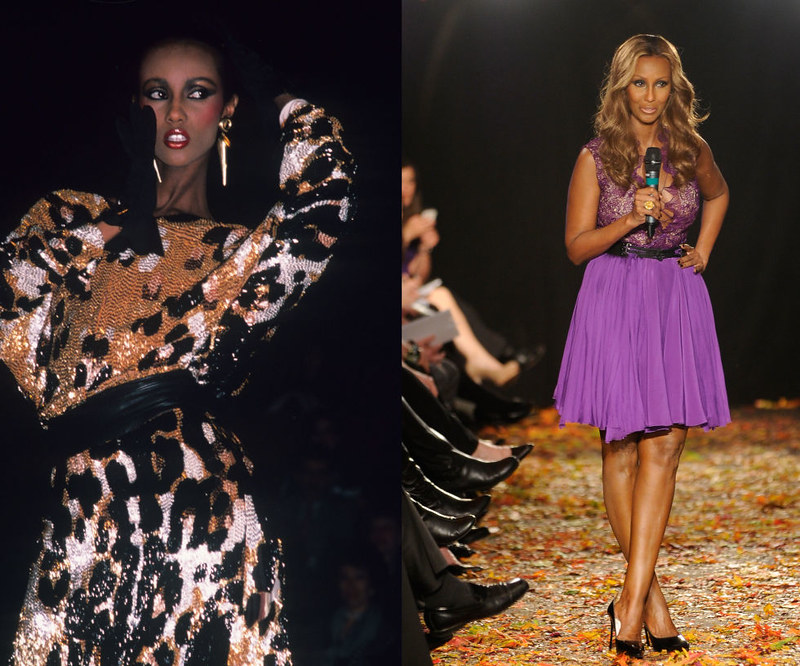 "IMAN - At the Michael Vollbracht show in 1981, and announcing the ""Strut: The Fashionable Mom"" presentation in 2012."
