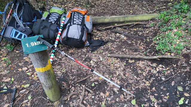 hiking poles and bags by skilderkrans
