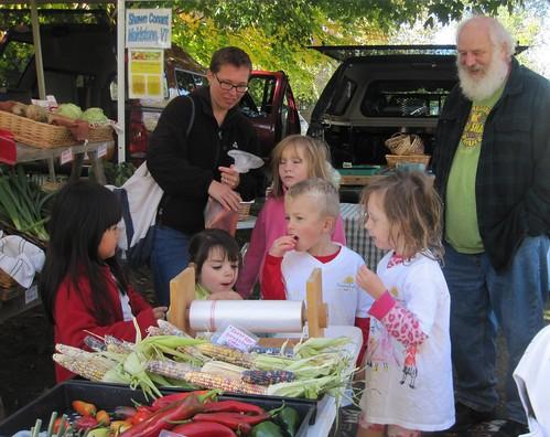 raspberry treats with farmer Shawn