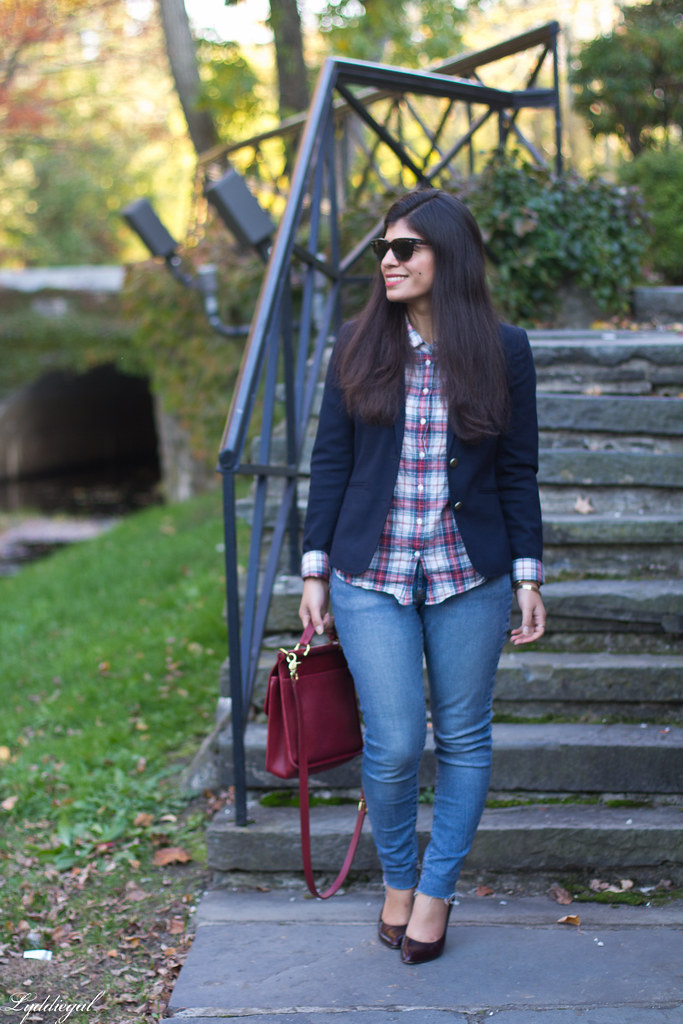 plaid shirt, navy blazer, red willis bag.jpg