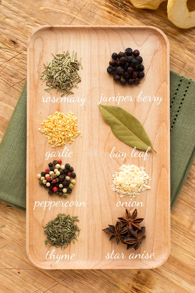 herbs and spices for brine on wooden board