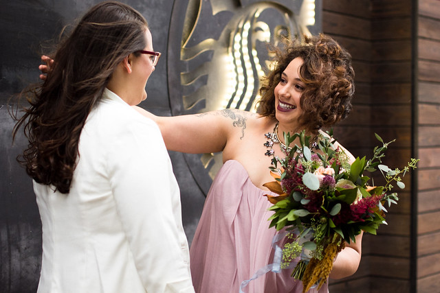First Look at Lindsey and Shaun's Wedding at Lambert's BBQ in Austin, Texas, Love Wins, Gay Wedding, Lesbian Wedding