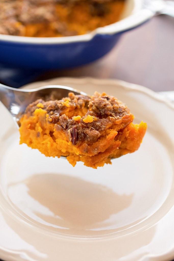 scoop of sweet potato casserole