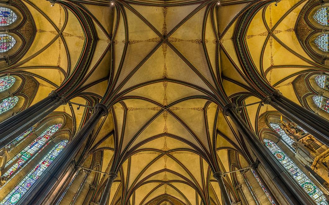 Salisbury Cathedral's Trinity Chapel (Lady Chapel) ceiling. Credit: David Iliff