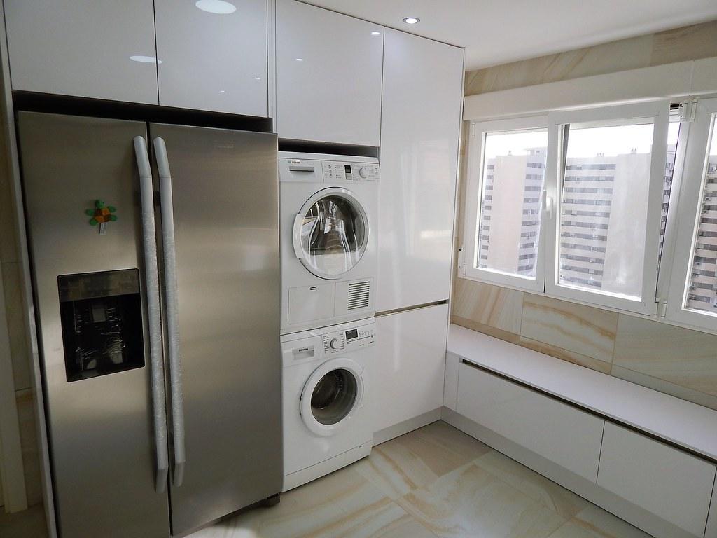 Laser blanco polar brillante - Cocinas con frigorifico americano ...