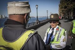 Parks Enforcement Patrol Sergeant patrols Battery Park City. (2015)