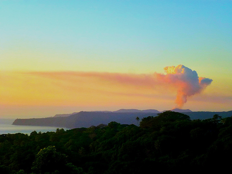 Mt Yasur Volcano as viewed from the Tanna Adventures accommodation in Middlebush, Tanna Island