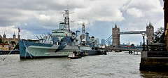 London Trip, H.M.S. Belfast And Tower Bridge On The River Thames