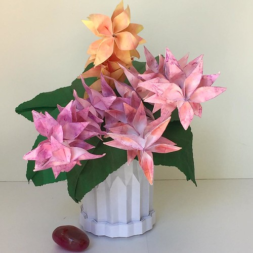 Pink and Peach Origami Flowers in Origami Vase