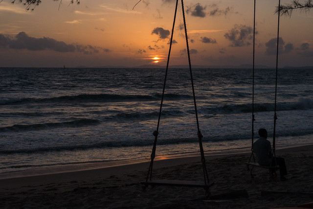 Otres Beach at Sunset with swings near Sihanoukville, Cambodia Budget Guide to Cambodia | Tips on how to do Cambodia on the cheap | How to travel Cambodia cheaply | Cambodia on a budget | 2 weeks in Cambodia