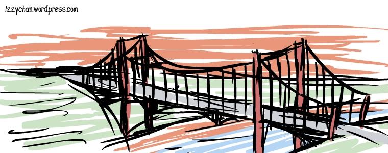 cable bridge sunset