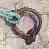"Street Art, Belleville, Paris, France - Docking Ring - 12""x16"" acrylic on canvas #streetart #art #acrylic #paintings# #chriscarterartist #geometry"